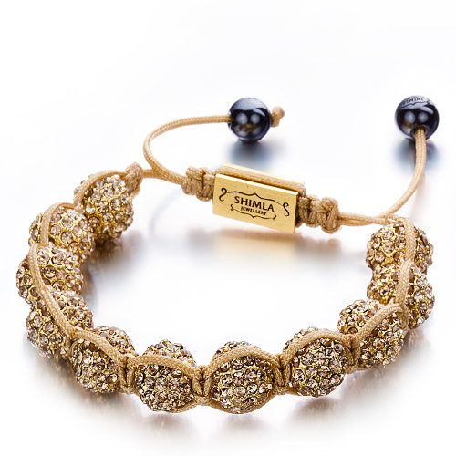 Shimla SH 073S Crystal Bead TS Bracelet Gold Plated Fireballs Coloured Czech Crystal with Gold Nylon