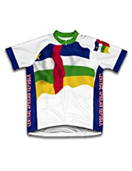 Central African Republic Flag Short Sleeve Cycling Jersey for Women