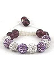 08-Ball Children Kids Girls Boys Petites Teen White & Purple Bead Shamballa Bracelet with Purple Crystals on White...