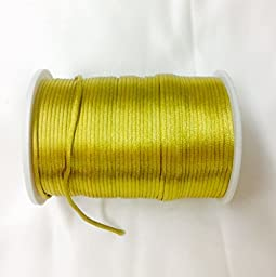 Satin Rat tail cord 2.5mm for macrame, jewelry, decorations selling per Roll/110 yard in Gold, Available in 21 Colors
