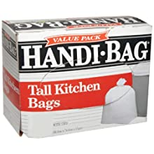 Webster Plastic Handi Bag Tall Kitchen Waste Can Liner, Super Value Pack, Flat Seal, White