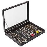 Barcarolle ネックレス 20本 PUレザー コレクション ボックス アクセサリーボックス ジュエリーボックス アクセサリー ジュエリー 35.0x24.0x5.0cm (BlackPULeather)