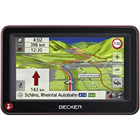 Becker Active 43 Talk Navigatore satellitare, display 10,9 cm, cartografia Europa 43, vista 3D, Bluetooth, colore: Nero/Rosso