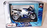 Maisto blue and white suzuki GSX R750 bike 1.18 scale diecast model
