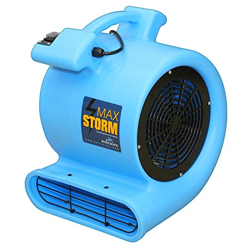 Max Storm Blue 2550 CFM Durable Lightweight Carpet Drying Fan Blower Air Mover Draw Low Amps Move Large Volumes of Air for Pro Janitorial or Carpet Cleaning Business ... (Blower Fan Cfm compare prices)