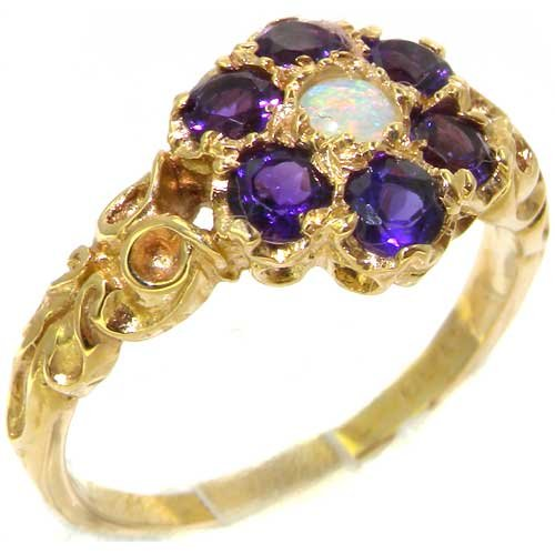 Victorian Ladies Solid 14K Yellow Gold Natural Fiery Opal & Amethyst Daisy Ring - Size 9.25 - Finger Sizes 5 to 12 Available - Perfect Gift for Birthday, Christmas, Valentines Day, Mothers Day, Mom, Mother, Grandmother, Daughter, Graduation, Bridesmaid.