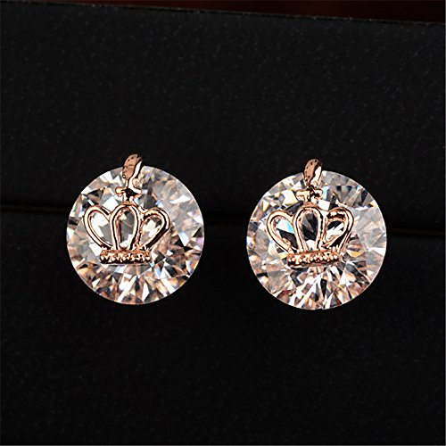 Loventer 18K Rose Gold Plated Round Clear Crystal With Crown Earrings Studs