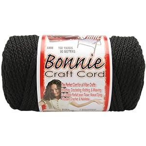 Pepperell 6mm Bonnie Macramé Craft Cord, 100-Yard, Black