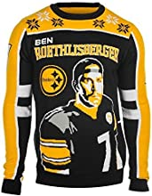 Forever Collectibles NFL Pittsburgh Steelers Roethlisberger B. #7 2015 Player Ugly Sweater, Medium, Black