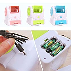 BLUE LEYSHIZ NEW Portable USB Mini Bladeless No Leaf Air Conditioner Cooling Cool Fan PINK