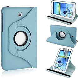 RKA 360Â¡Rotating PU Leather Stand Case For Samsung Galaxy Tab3 7.0 P3200 Light Blue