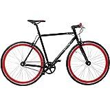 28' Fixie Singlespeed Bike Viking Blade 5 Farben zur Auswahl, Farbe: Schwarz / Rot; Rahmengrösse: 56 cm