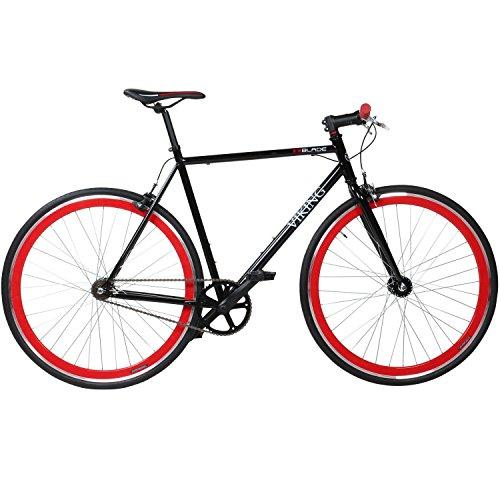 28-Fixie-Singlespeed-Bike-Viking-Blade-5-Farben-zur-Auswahl-Farbe-Schwarz-Rot-Rahmengrsse-56-cm