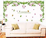 UberLyfe Hanging Flowers Bunch with Butterfles Wall Sticker (Wall Covering Area: 75cm x 150cm)
