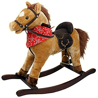 Tan Kids Rocking Horse Pony Moving Mouth Sounds Children Boys Girls