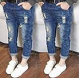 子供服 個性派 ジーパン おしゃれ 女の子 男の子 ダメージ 長ズボン (120cm, 紺) ランキングお取り寄せ