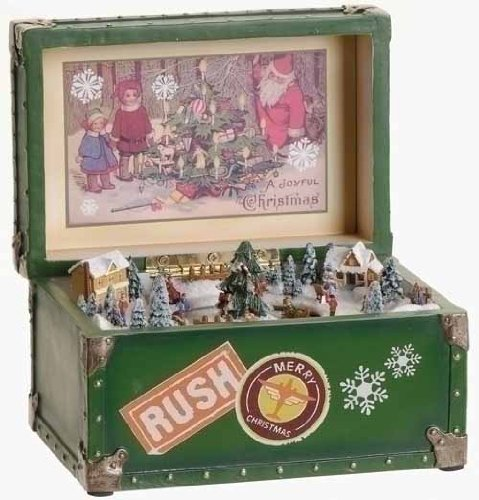 Happy Holidays Animated Vintage Trunk Christmas Music Box