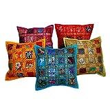 AADI ENTERPRISES Jaipuri Designer Embriodery Sequine Patchwork Multicolor Assorted Cotton Cushion Cover Set Of...