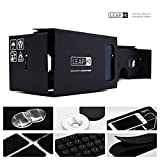 LEAP HD® - The Complete Google Cardboard VR with NFC and Head-Strap-Inspired by 3D Google Glasses to Turn Smartphones into Cardboard Virtual Reality Headsets (Jet Black)