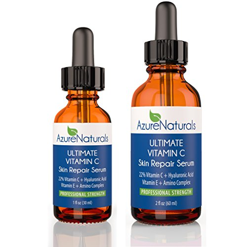 22% LEMON infused ULTIMATE VITAMIN C Serum 22% C + 11% Hyaluronic Acid + 1% Vitamin E + 1% Ferulic, also Contains Organic Aloe & Jojoba Oil + Advanced Amino Complex, Deeply Penetrates Skin to Repair Sun Damage, Reduces Fine Lines & Wrinkles, Azure Naturals Guarantees Our ULTIMATE LEMON VITAMIN C Serum Will Leave Your Skin With a Beautiful, Radiant, and More Youthful Looking Glow! Try Risk Free Today, One Year Unlimited Money Back Guarantee!