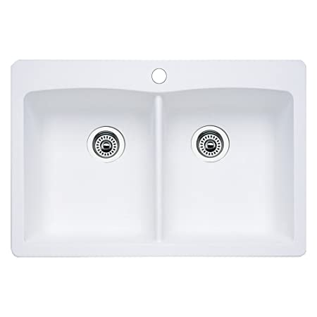 Blanco 511-601 Diamond Equal Double Bowl Kitchen Sink, White Finish