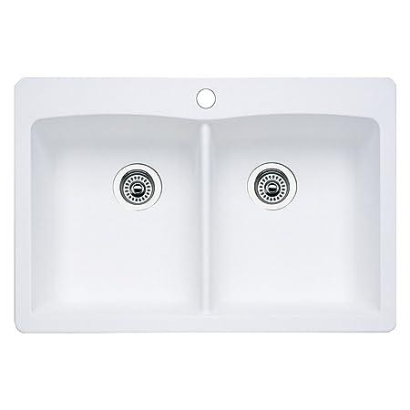 Blanco 511-601 Diamond Equal Double Bowl Kitchen Sink, White Finish