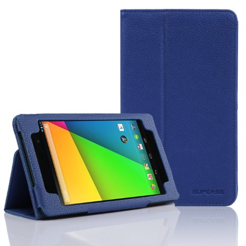 SUPCASE New Google Nexus 7 FHD 2nd Generation Tablet Slim Fit Folio Leather Case - Sapphire Blue (Free Stylus, Elastic Hand Strap, Support Auto Wake/Sleep) (Nexus 7 Case Blue compare prices)