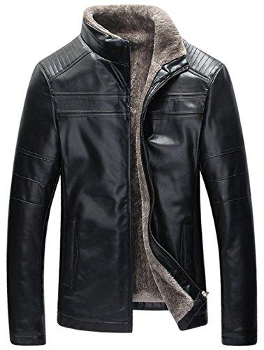szyysd men 39 s winter warm sheep skin leather coat jacket. Black Bedroom Furniture Sets. Home Design Ideas