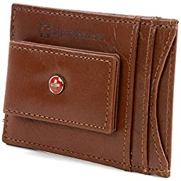 Alpine Swiss Mens Wallet Leather Money Clip Thin Slim Front Pocket Wallet Brown