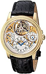 Stuhrling Original Men's 213T.333X2 Analog Tourbillon Limited Edition Saturnalia Mechanical Power Reserve Indicator Gold Tone Watch