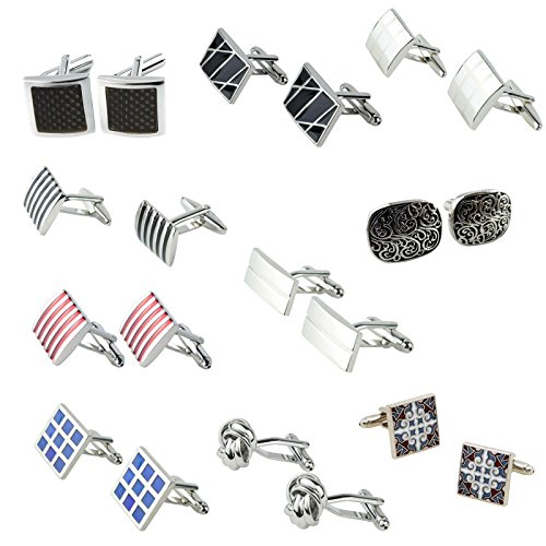 Buy Cheap Leegoal Classic Fashion Modern Stripe Cufflinks(Red and white stripes)