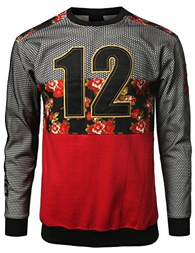 Urbancrews Mens Hipster Hip Hop 12 Mesh Dimeadozen Floral Sweatshirt Red Large