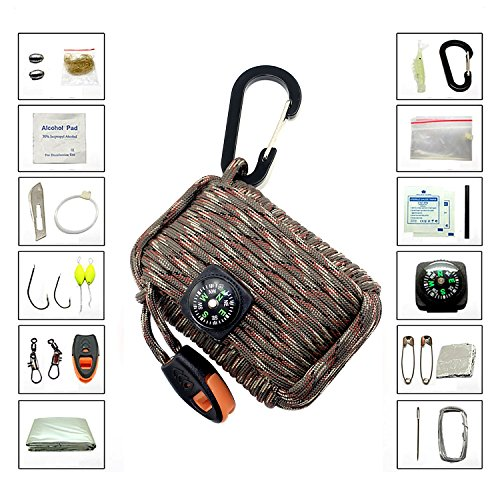 KUNGIX Paracord Survival Kit Deluxe Outdoor Grenade with Carabiner for Camping Hiking Hunting Biking Climbing Fishing and Emergency