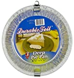 """Durable Foil D21030 3 Count 8"""" Aluminum Deep Pie Pans"""