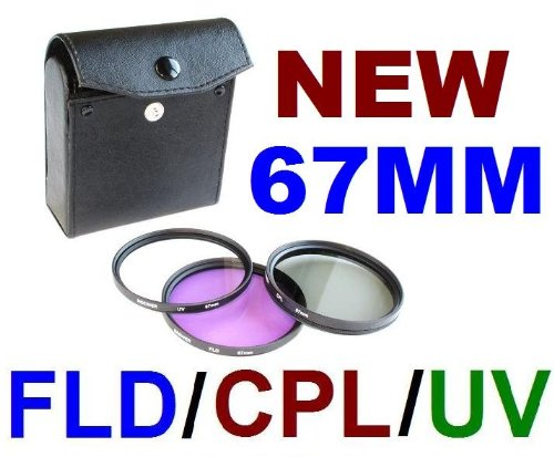 67mm 3-pc Filter Kit (UV, CPL, FLD) For Nikon D90 D80 D70 D70s & Any Other 67mm Lens Camera