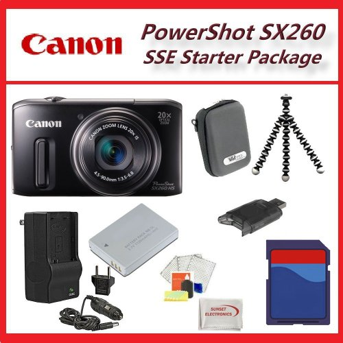 Canon Powershot SX260 HS Digital Camera SSE Ultimate 16GB Accessory Kit Includes Extended Life Battery, Charger + More