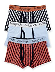 3 Pack Autograph Cotton Rich Geometric Striped Trunks