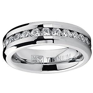 6MM Ladies Eternity Titanium Ring Wedding Band with CZ size 4