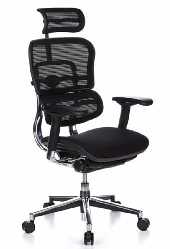 HJH OFFICE 652630 Bürostuhl / Chefsessel ERGOHUMAN Sitz Stoff / Rücken Netz schwarz