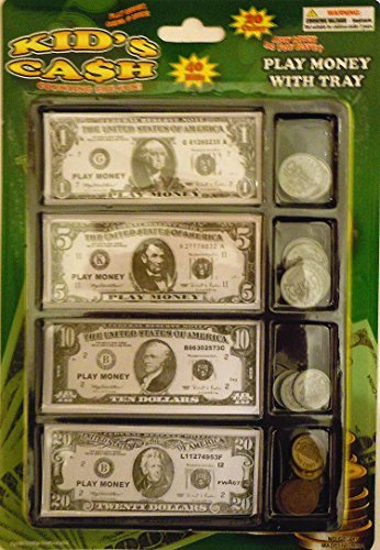 Play Money Set W/bills & Coins In Tray