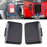2x Smoked LED Tail Lights for 2007-2015 Jeep Wrangler Tail Light Brake Reverse Light Rear Back Up Turn Singal Lamp Daytime Running Lights DRL
