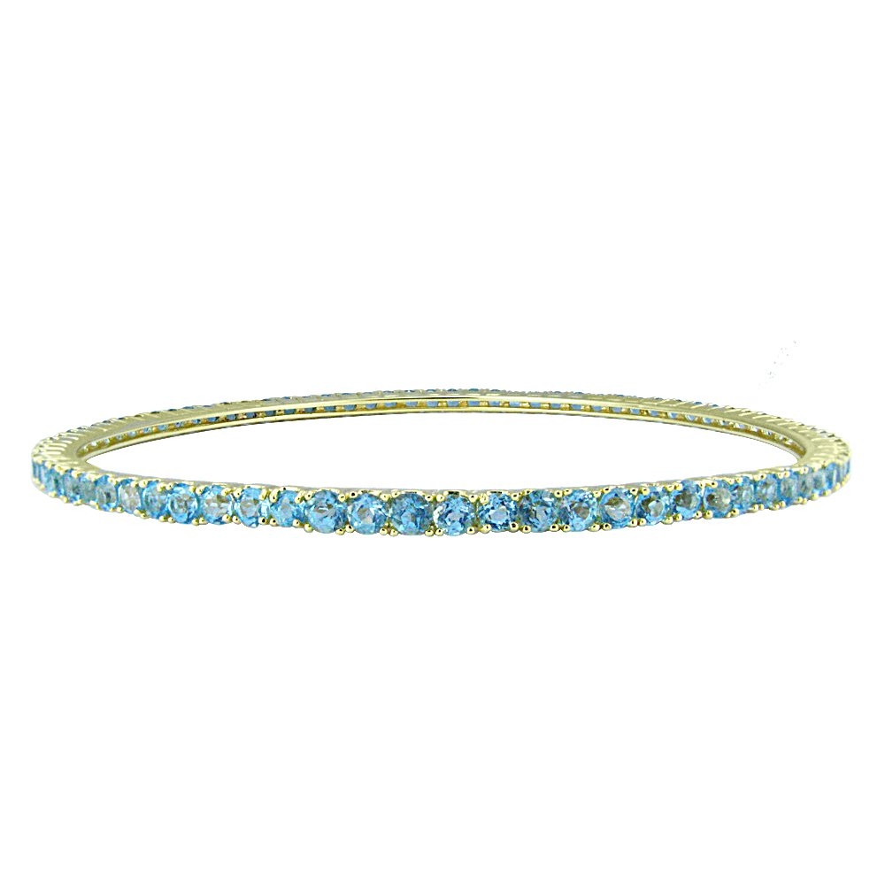 18k Gold Over Sterling Silver Blue Topaz Eternity Bangle Bracelet