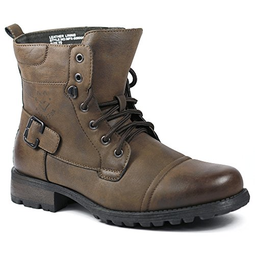 Polar Fox MPX-508006 Chocolate Brown Mens Military Combat Work Desert Ankle Boot w/ Leather Lining (8.5)