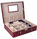 BlushBees Two Layer Leather Jewelry and Watch Storage Box Organizer with Lock