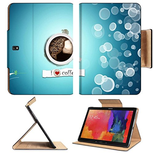I Love Coffee Artistic Design Samsung Tab Pro 12.2 Flip Case Stand Smart Magnetic Cover Open Ports Customized Made To Order Support Ready Premium Deluxe Pu Leather Luxlady Professional Graphic Background Covers Designed Model Folio Sleeve Hd Template Desi