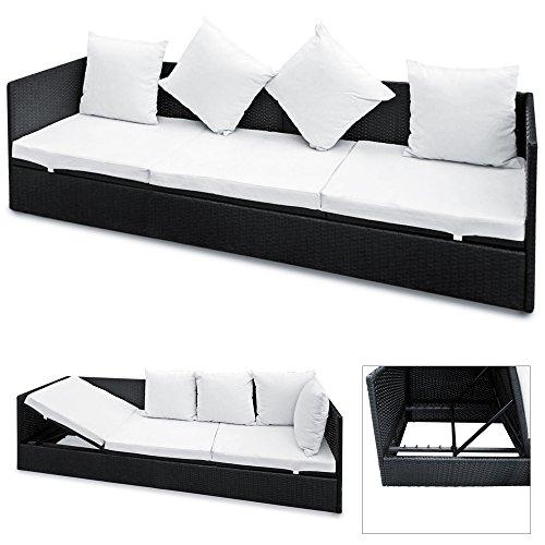 Polyrattan-Liege-mit-Rckenlehne-schwarz-7cm-dicke-Sitzauflagen-verstellbarer-Liegeflche