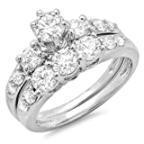 Image of 1.80 Carat (ctw) 14K White Gold Round Diamond Ladies 3 Stone Bridal Engagement Ring Set (Size 10)