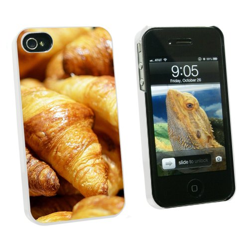 Croissants Bread - France Paris - Snap On Hard Protective Case for Apple iPhone 4 4S - White