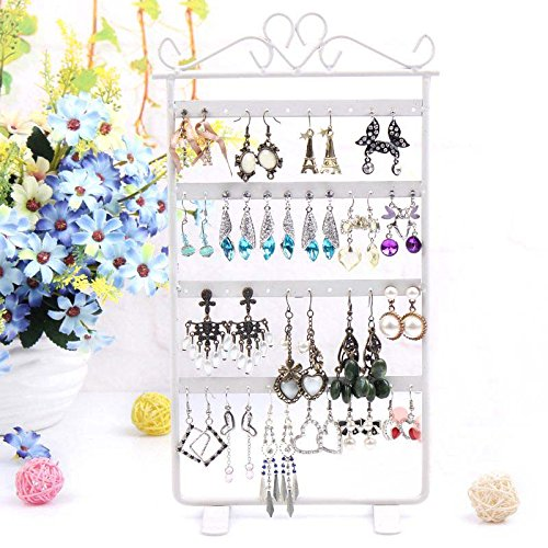 Touirch 48 Holes Earrings Jewelry Display Metal Organizer Stand Holder Rack (white) (White Earring Rack compare prices)