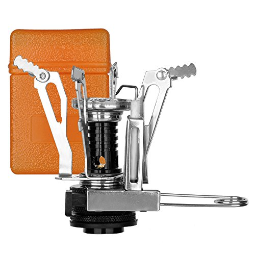 OuterEQ Ultralight Outdoor Camping Stove Gas-powered Stove Backpacking Stove with Piezo Ignition 3.9oz (Silvery Stove and Orange Box)